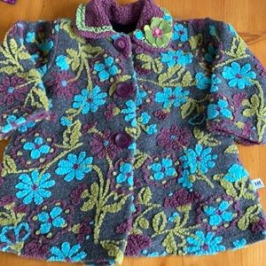 Corky & Company floral chenille swing coat size 4
